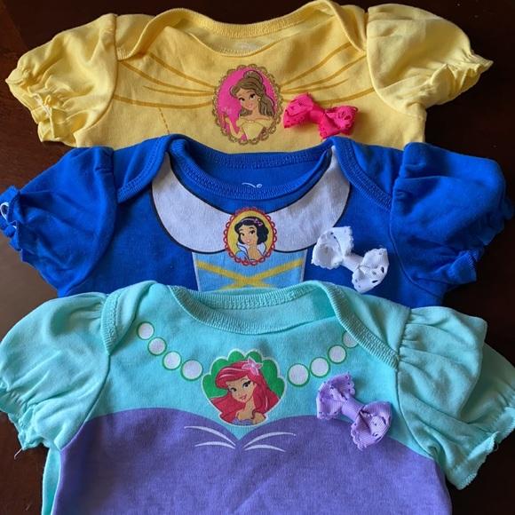 Disney Baby Princess 3 Onesies Size 6/9 Months